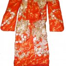 Beautiful Vintage Kimono - Orange Embroidered Designs