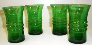 Green Glassware Cups - Vintage 1970s