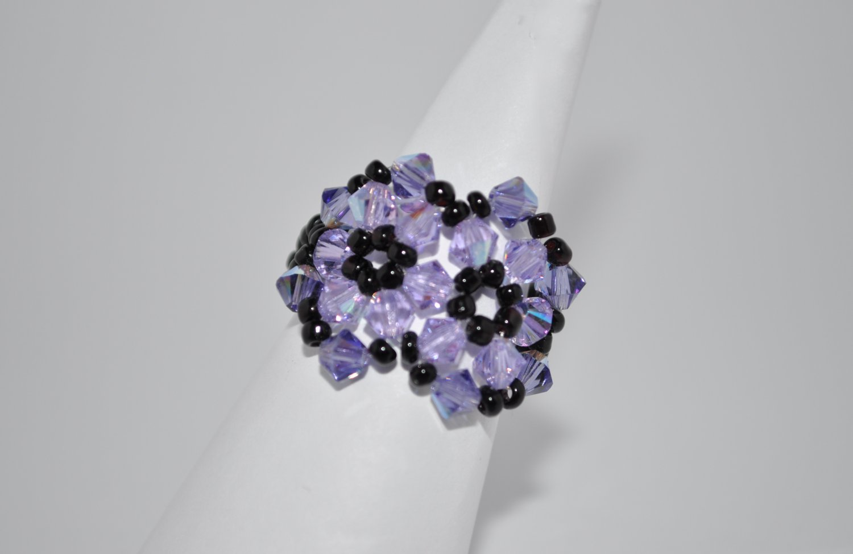 Violet and Black Swarovski Crystal Ring