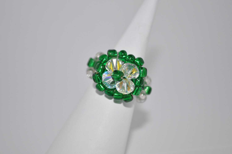 Crystal Swarovski and Emerald Seed Glass Ring