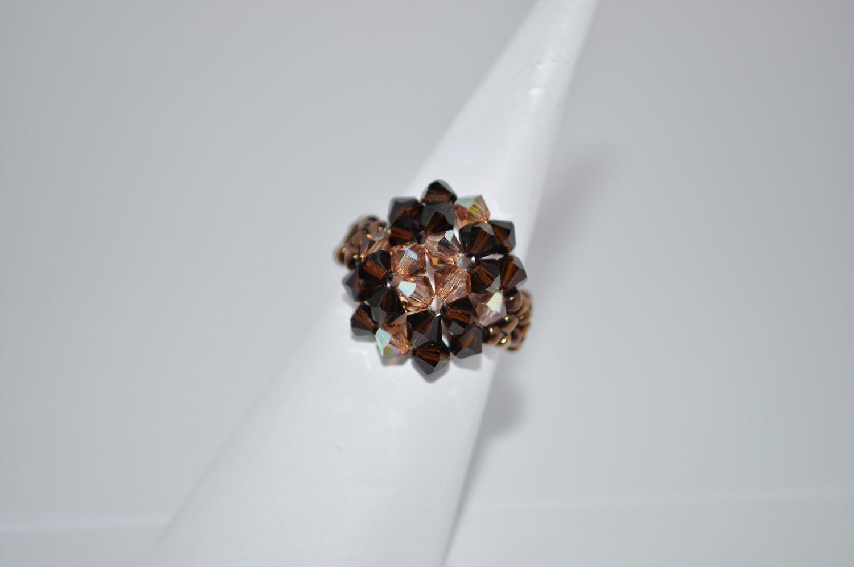 Light Smoked Topaz and Mocca Swarovski Crystal Ring
