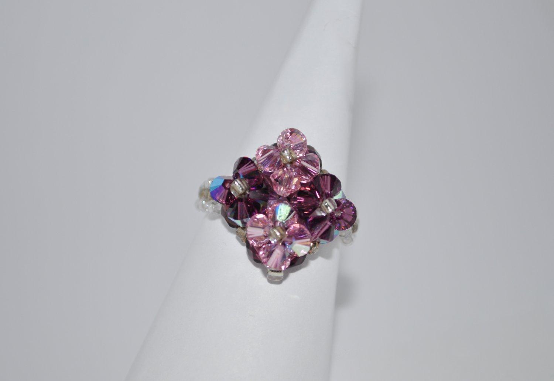Light Pink and Amethyst AB Swaroski Crystal Ring