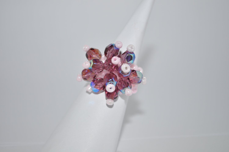 Light Pink and Amethyst Czech Glass Ring