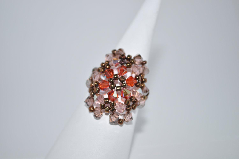 Indian Red and Vintage Rose Crystal Swarovski Ring