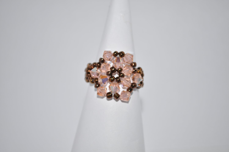 Light Peach AB and Brown Swarovski Crystal Ring