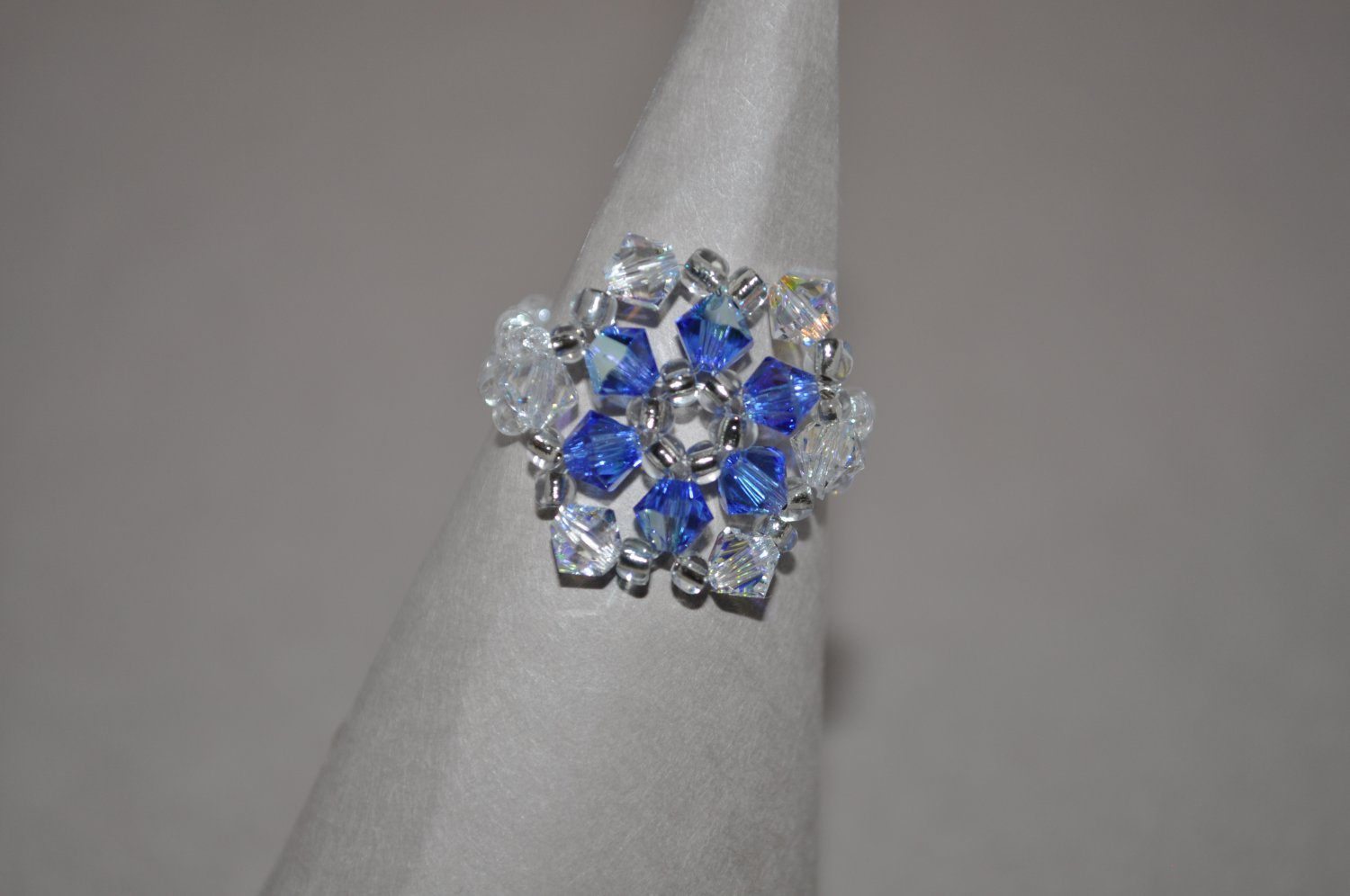 Crystal and Sapphire AB Swarovski Crystal Ring