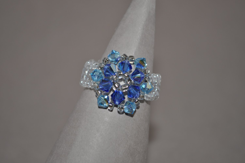 Aquamarine and Sapphire AB Swarovski Crystal Ring