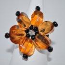 Orange and Black Flower Ring