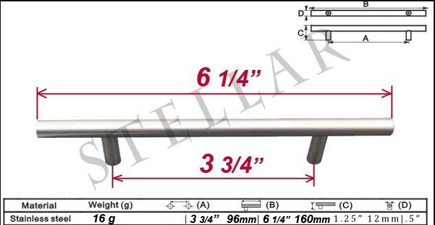 """30 6"""" Solid Stainless steel Kitchen Cabinet Pull Handle"""