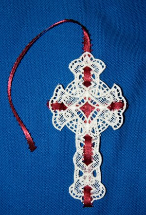 Elegant Lace Cross Bookmark