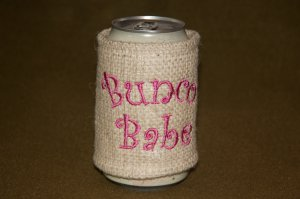 Bunco Babe Burlap Can Koozie