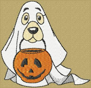 Trick or Treat Ghost Dog Machine Embroidery File