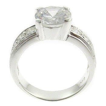 Silver With White CZ Engagement Ring (DRR1431)