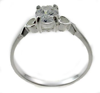 #104. Silver With Created Diamond Ring