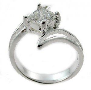 #105. Silver With Created Diamond Ring