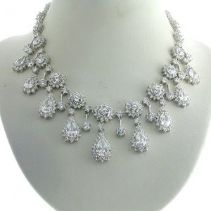 #202.  925 Silver with White CZ Necklace