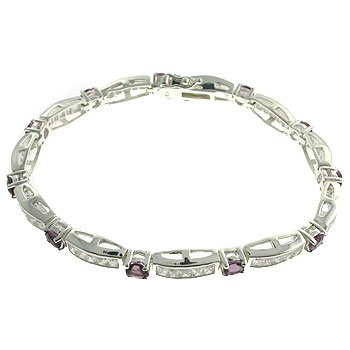 #207. Created Amethyst & Diamond With 925 Silver Bracelet