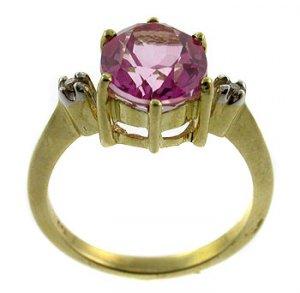 #108. Genuine Pink topaz & Diamond 9k Gold Ring