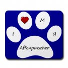 Blue I Love My Affenpinscher Mouse Pad