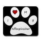 Black I Love My Affenpinscher Mouse Pad