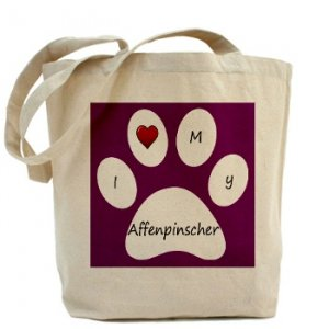 Purple I Love My Affenpinscher Tote Bag