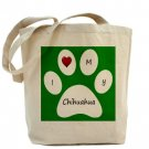 Green I Love My Chihuahua Tote Bag
