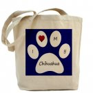 Blue I Love My Chihuahua Tote Bag