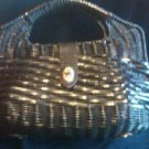 Vintage Black Wicker Rattan Handbag 60's