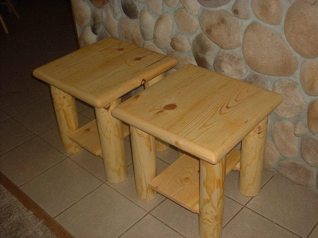 Two log style end tables