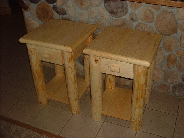 Two log style nightstands