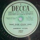 Promo 78--ANDREWS SISTERS--THAT EVER LOVIN' RAG--Decca