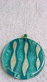 C675010861 - Turquoise and Ivory Round Glass Chirstmas Ornament