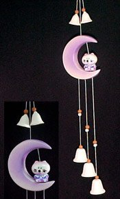 C294081411 - Baby Cat in the Moon Ceramic Mobile