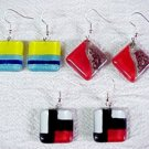 C474020642 Square Glass Earrings, Variety of Colors