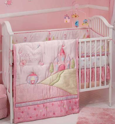 Disney Princess Once Upon A Time 4 Piece Baby Crib Bedding Set NEW