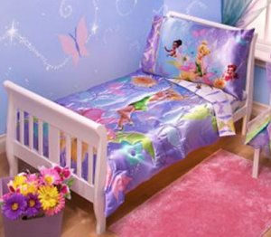 Disney Tinkerbell Fairies Toddler Bedding 4 Pc Set New