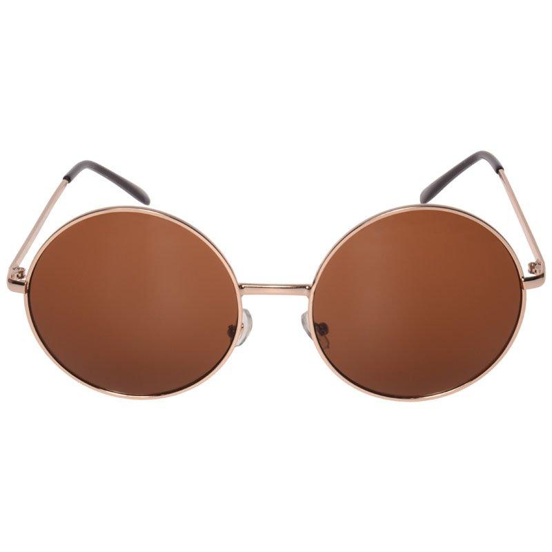 Janis 60s Oversized Round Hippie Sunglasses (Gold)