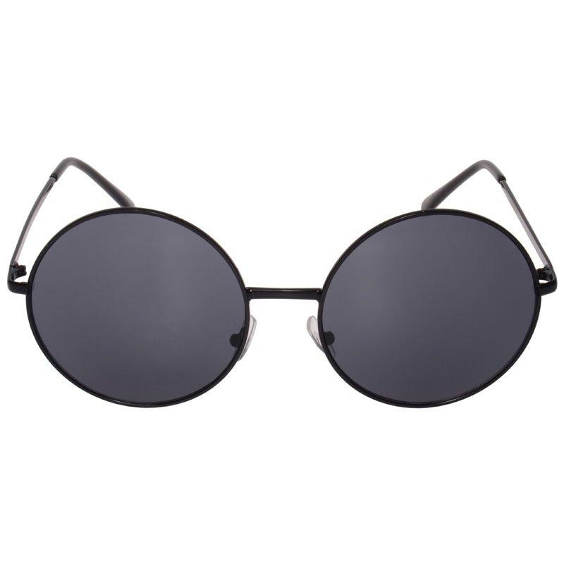 Janis 60s Oversized Round Hippie Sunglasses (Black)