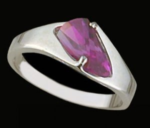 Lds Hot Pink CZ Sterling Silver Ring #4286