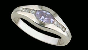 Lds Lavender CZ Sterling Silver Ring #4236