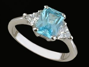 Lds Aqua CZ Sterling Silver Ring #4277