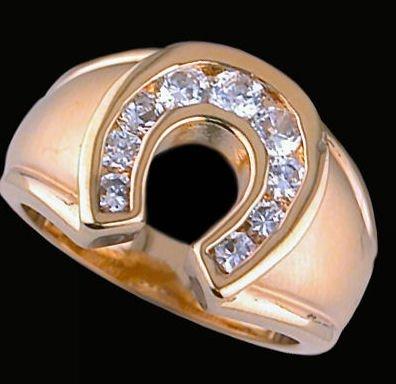 Gentleman's Gold Cubic Zirconia Fashion Ring #2242