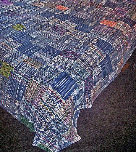 Blue / Pastels Guatemalan Patchwork Quilt! King Size