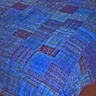 Vivid Bright BlueGuatemalan Patchwork Quilts queen size