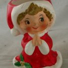 Vintage Christmas Ceramic Girl Candleholder- Japan