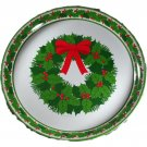 1970s Hallmark Tin Serving Tray Wreath Design