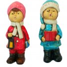 Made in Japan Caroling Pair Composition Christmas Figurines 7 Inches