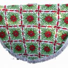 Christmas Print Tablecloth-VINTAGE Bows,Poinsettias,White Fringe 60 Inch Round