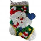 Sequin Embellished Santa Face Candy Cane Handmade Christmas Stocking