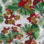 Christmas Print Tablecloth-VINTAGE Bows,Pines,Bells,White Fringe 68 x 50 Inches